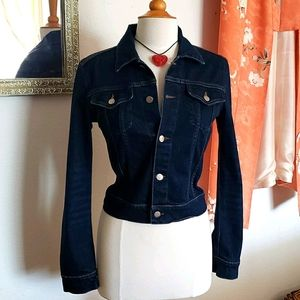 Theory Denim Jacket with Sunburst Heart Size Large